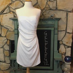 Rebecca Taylor Side Ruched White Dress